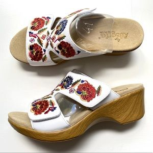 Alegria Embroidered Leather Slip-on Wedge Sandals
